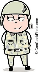 Cunning Smile - Cute Army Man Cartoon Soldier Vector Illustration