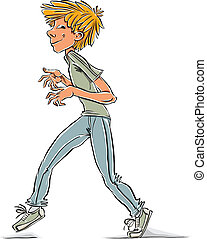 Cunning teen boy. - Cunning teen boy, vector cartoon.