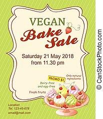 cuocere, vegan, promozione, vendita, cupcakes, aviatore, ...