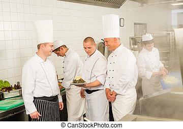cuochi, occupato, chef, squadra, professionale, cucina