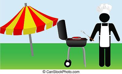 cuochi, simbolo, chef, barbecue, uomo, fuori