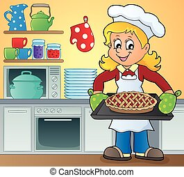 cuoco, 9, tema, immagine, femmina