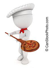 cuoco, bianco, pizza, 3d, persone