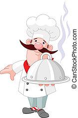 cuoco, chef, piastra
