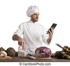 cuoco, con, tecnologia