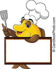 cuoco, divertente, fish, cartone animato, giallo