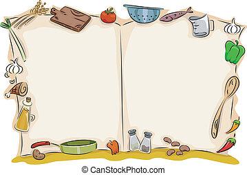cuoco, libro, aperto, fondo, vuoto