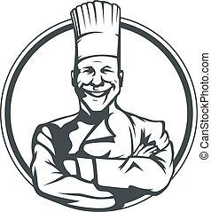 cuoco, sorridente, anello