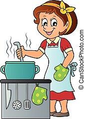 cuoco, tema, 2, immagine, femmina