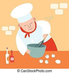 cuoco, uova, frusta, cucina