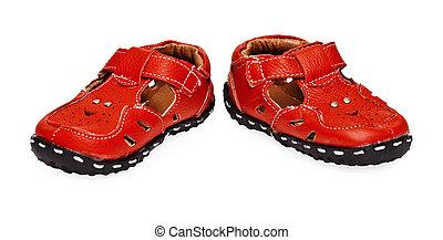 cuoio, bambini, scarpe bianche, rosso