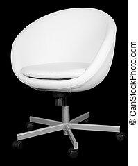 cuoio, bianco, moderno, sedia, ufficio