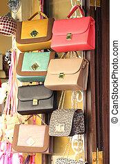 cuoio, borse, negozio