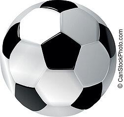 cuoio, calcio, palla bianca, nero