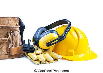 cuoio, casco, guanti, toolbelt, auricolari