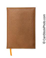 cuoio, coperchio, quaderno, marrone