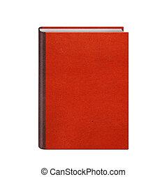 cuoio, libro libro copertina dura, isolato, rosso