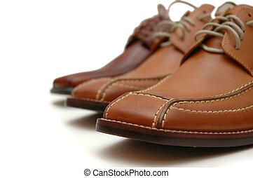 cuoio, maschio bianco, scarpe, isolato
