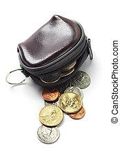 cuoio, monete, borsellino