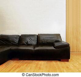 cuoio, nero, divano