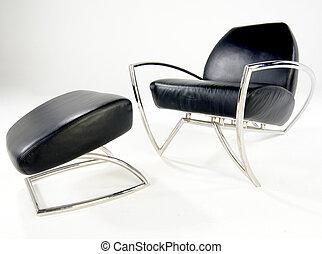 cuoio, nero, sedia, sgabello