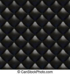 cuoio nero, tappezzeria, struttura, seamless