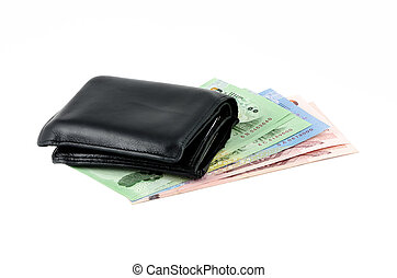 cuoio, nota, nero, banca, portafoglio
