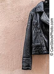 cuoio, rosa, giacca, parete, nero