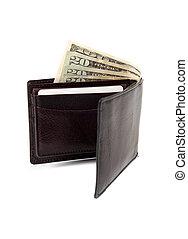 cuoio, soldi, bianco, portafoglio