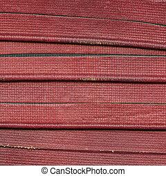 cuoio, striscie, fondo, portato, rosso
