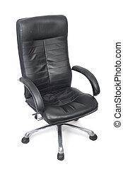 cuoio, vecchio, sedia, usato, nero