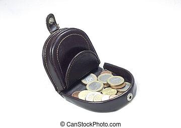 cuoio, vendemmia, borsa moneta, foldable