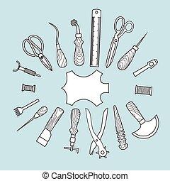 cuoio, vettore, attrezzi, lavorativo, illustrazione