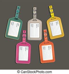 cuoio, vettore, bagaglio, labels., etichette