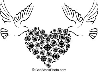 cuore, 2, colombe