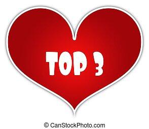 cuore, adesivo, 3, label., cima, rosso