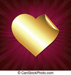 cuore, adesivo, oro