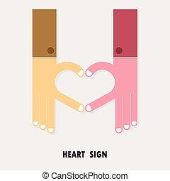 cuore, affari, symbol.teamwork, concept., creativo, logotype, mano, forma, vettore, logotipo, segno, astratto, design.