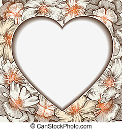 cuore, affascinante, illustration., cornice, vettore, rose, hand-drawing.