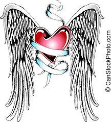 cuore, ala, nastro