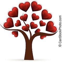 cuore, albero, amore, logotipo