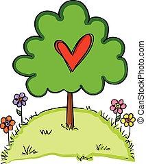 cuore, albero, amore