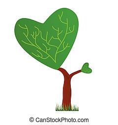 cuore, albero, corona, illustrazione, forma, vettore