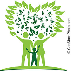 cuore, albero, famiglia, mette foglie, logotipo