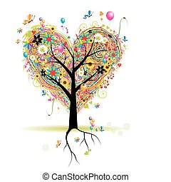cuore, albero, vacanza, forma, palloni, felice