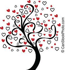 cuore, albero, vettore, grafico