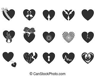 cuore, amare, nero, icona