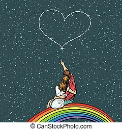 cuore, amore, arcobaleno, coppia, occhiate, sedere