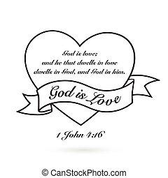cuore, Amore, bandiera, dio, vettore, disegno