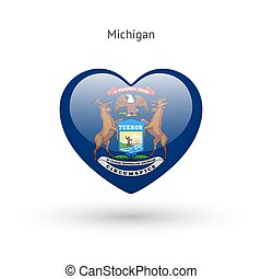 cuore, amore, bandiera michigan, simbolo., stato, icon.